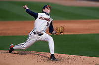 Starting pitcher Andrew Hoffman (35) of the Illinois Fighting Illini in a game against the Ohio State Buckeyes on Friday, March 5, 2021, at Fluor Field at the West End in Greenville, South Carolina. (Tom Priddy/Four Seam Images)