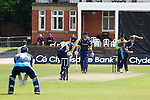 Pix: Shaun Flannery/shaunflanneryphotography.com...COPYRIGHT PICTURE>>SHAUN FLANNERY>01302-570814>>07778315553>>..19th May 2013..Derbyshire Unicorns v Yorkshire Vikings..Yorkshire Bank 40 National League Cricket Match..Yorkshire's Liam Plunkett bowls to Unicorns O'Shea.