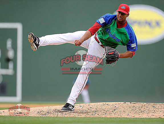 Starting pitcher Jeffry Fernandez (37) of the Greenville Drive delivers a pitch in a game against the Augusta GreenJackets on Sunday, April 12, 2015, at Fluor Field at the West End in Greenville, South Carolina. Augusta won, 2-1. (Tom Priddy/Four Seam Images)