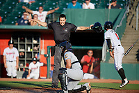 Umpire Jae-Young Kim calls Rafael Lantigua (9) safe at home behind catcher Keinner Pena (6) during a Midwest League game betwee the Burlington Bees ad Lansing Lugnuts on July 18, 2019 at Cooley Law School Stadium in Lansing, Michigan.  Lansing defeated Burlington 5-4.  (Mike Janes/Four Seam Images)