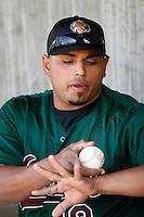 Orlando Mercado of the Visalia Oaks during a California League baseball game on April 9, 2007 at Stater Bros. Stadium in Adelanto, California. (Larry Goren/Four Seam Images)