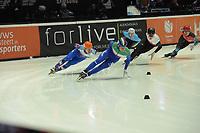SPEEDSKATING: DORDRECHT: 05-03-2021, ISU World Short Track Speedskating Championships, Heats 1000m Men, Semen Elistratov (RSU), Luca Spechenhauser (ITA), Michal Niewinski (POL), ©photo Martin de Jong