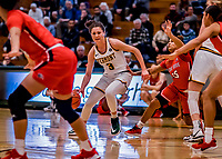 19 February 2020: University of Vermont Catamount Guard Sarah Wells, a Sophomore from Stanstead, Quebec, in first-half action against the Stony Brook Seawolves at Patrick Gymnasium in Burlington, Vermont. The Lady Seawolves edged out the Lady Catamounts 72-68 in America East Women's Basketball. Mandatory Credit: Ed Wolfstein Photo *** RAW (NEF) Image File Available ***