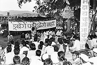 India, Narmada River, Narmada dams and protest movement of NBA Narmada Bachao Andolan, movement to save the Narmada river, and affected Adivasi in their villages, NBA rally in village Manibeli, Medha Patkar, September 1993