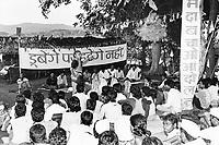 India, Narmada River, Narmada dams and protest movement of NBA Narmada Bachao Andolan, movement to save the Narmada river, and affected Adivasi in their villages, NBA rally in village Manibeli, Medha Patkar, September 1993