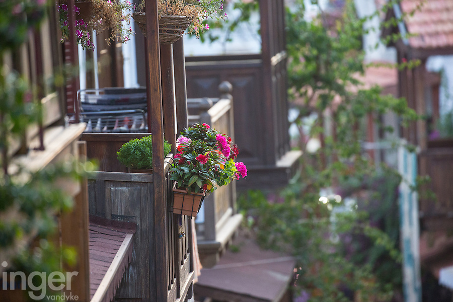 The balconies of the houses in Kas, Turkey
