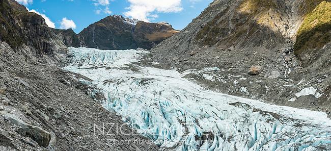 Lower parts of Fox Glacier, Westland Tai Poutini National Park, West Coast, South Westland, UNESCO World Heritage Area, New Zealand, NZ