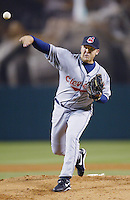 Ryan Drese of the Cleveland Indians pitches during a 2002 MLB season game against the Los Angeles Angels at Angel Stadium, in Los Angeles, California. (Larry Goren/Four Seam Images)