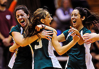 14 November 2010: The Vermont Commons School Flying Turtles girls volleyball team celebrates victory defending their title to win the 2010 High School Volleyball State Championship at Saint Michael's College in Colchester, Vermont. Participating schools included: the Enosburg Falls Hornets, the Lake Region Union Rangers, the Lyndon Institute Vikings, and the VCS Flying Turtles. The Boys Championship went to Lake Region Union High School. Mandatory Credit: Ed Wolfstein Photo.