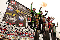 18-20 March 2011, Chandler, Arizona, USA Rick Huseman, Johnny Greaves, Carl Renezeder, winner, trophy, celebration, Toyota Tundra ©2011, Mark J. Rebilas