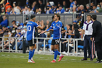 SAN JOSE, CA - AUGUST 17: Cristian Espinoza #10 of the San Jose Earthquakes is subbed out for Cade Cowell #44 during a game between Minnesota United FC and San Jose Earthquakes at PayPal Park on August 17, 2021 in San Jose, California.