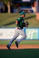 Daytona Tortugas left fielder Malik Collymore (4) jogs back to the dugout during a game against the St. Lucie Mets on August 3, 2018 at First Data Field in Port St. Lucie, Florida.  Daytona defeated St. Lucie 3-2.  (Mike Janes/Four Seam Images)