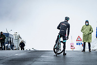 Tanel Kangert (EST/BikeExchange) stopping up the Passo Giau, prepping for the descent<br /> <br /> due to the bad weather conditions the stage was shortened (on the raceday) to 153km and the Passo Giau became this years Cima Coppi (highest point of the Giro).<br /> <br /> 104th Giro d'Italia 2021 (2.UWT)<br /> Stage 16 from Sacile to Cortina d'Ampezzo (shortened from 212km to 153km)<br /> <br /> ©kramon