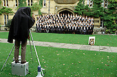 First year students pose for a matriculation photograph at University College, Oxford.