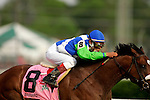Barbaro, ridden by Edgar Prado, races down the home stretch during the 132nd running of the Kentucky Derby at Churchill Downs in Louisville, Kentucky on May 6, 2006..