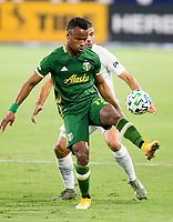 CARSON, CA - OCTOBER 07: Jeremy Ebobisse #17 of the Portland Timbers traps the ball over Emiliano Insua #3 of the Los Angeles Galaxy during a game between Portland Timbers and Los Angeles Galaxy at Dignity Heath Sports Park on October 07, 2020 in Carson, California.