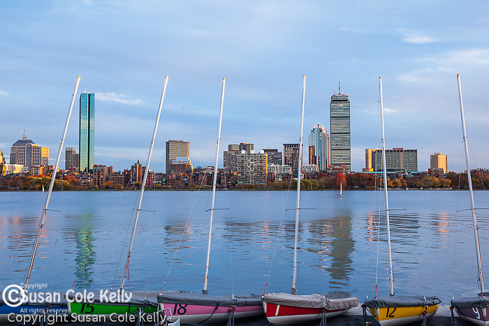 Colorful boats on the Charles River, Boston, MA