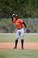Miami Marlins Garvis Lara (9) during a Minor League Spring Training game against the St. Louis Cardinals on March 26, 2018 at the Roger Dean Stadium Complex in Jupiter, Florida.  (Mike Janes/Four Seam Images)