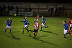 Witton Albion 1 Warrington Town 2, 26/12/2017. Wincham Park, Northern Premier League. Warrington Town substitute Tony Gray (left) celebrating his winning goal in second half stoppage time against Witton Albion at Wincham Park, during their Northern Premier League premier division fixture. Formed in 1887, the home team have played at their current ground since 1989 having relocated from the Central Ground in Northwich. With both team chasing play-off spots, the visitors emerged with a 2-1 victory, watched by a crowd of 503. Photo by Colin McPherson.