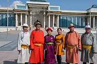 Mongolia, Ulaanbaatar. Family in Sukhbaatar Square