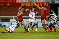 21st August 2020; Kingsholm Stadium, Gloucester, Gloucestershire, England; English Premiership Rugby, Gloucester versus Bristol Bears; Billy Twelvetrees of Gloucester tries to run through the tackle