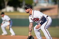 Peoria Javelinas first baseman Braxton Davidson (34), of the Atlanta Braves organization, during the Arizona Fall League Championship Game against the Salt River Rafters at Scottsdale Stadium on November 17, 2018 in Scottsdale, Arizona. Peoria defeated Salt River 3-2 in 10 innings. (Zachary Lucy/Four Seam Images)