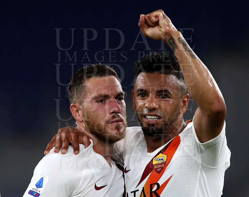 Roma s Jordan Veretout, left, celebrates with his teammate Bruno Peres after scoring the winning goal during the Italian Serie A football match between Roma and Parma at Rome's Olympic stadium, July 8, 2020. Roma won 2-1.<br /> UPDATE IMAGES PRESS/Isabella Bonotto