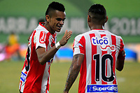 BARRANQUILLA - COLOMBIA, 29-07-2018: Luis Díaz (Izq.), jugador de Atletico Junior celebra el gol anotado a Depotivo Pasto durante partido de la fecha 2 entre Atlético Junior y Deportivo Pasto por la Liga Aguila II 2018, jugado en el estadio Romelio Martínez de la ciudad de Barranquilla. / Luis Diaz (L), player of Atletico Junior celebrates a scored goal to Depotivo Pasto during a match of the of the 2nd date between Atletico Junior and Deportivo Pasto for the Liga Aguila II 2018 at the Romelio Martinez stadium in Barranquilla city, Photo: VizzorImage  / Alfonso Cervantes / Cont.