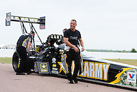Apr. 30, 2011; Baytown, TX, USA: NHRA top fuel dragster driver Tony Schumacher during qualifying for the Spring Nationals at Royal Purple Raceway. Mandatory Credit: Mark J. Rebilas-