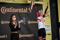 stage winner Tadej Pogacar (SVN/UAE-Emirates) on the podium up Luz Ardiden<br /> <br /> Stage 18 from Pau to Luz Ardiden (130km)<br /> 108th Tour de France 2021 (2.UWT)<br /> <br /> ©kramon