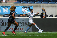 BRIDGEVIEW, IL - JUNE 5: Debinha #10 of the North Carolina Courage dribbles the ball as Casey Krueger #6 of the Chicago Red Stars defends during a game between North Carolina Courage and Chicago Red Stars at SeatGeek Stadium on June 5, 2021 in Bridgeview, Illinois.