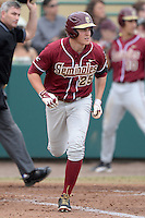 Florida State Seminoles outfielder Brett Knief (25) during a game against the South Florida Bulls on March 5, 2014 at Red McEwen Field in Tampa, Florida.  Florida State defeated South Florida 4-1.  (Mike Janes/Four Seam Images)