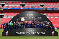 29th August 2020; Wembley Stadium, London, England; Community Shield Womens Final, Chelsea versus Manchester City; The Chelsea Women celebrate with the Community Shield after their win