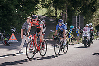 Tejay van Garderen (USA/BMC) sets the pace over Mikel Landa (ESP/SKY) with 1km to go on the last climb towards the finish<br /> <br /> Stage 18: Moena › Ortisei/St. Urlich (137km)<br /> 100th Giro d'Italia 2017