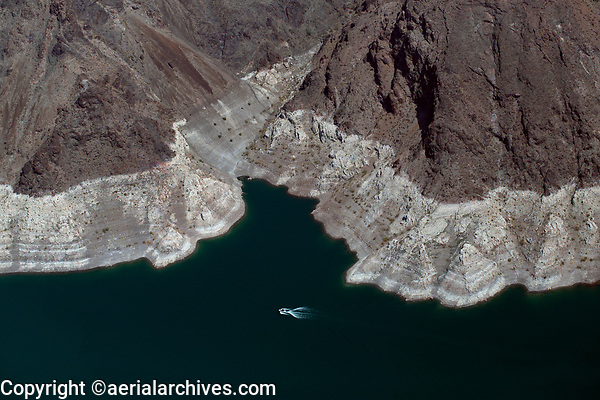 aerial photograph of drought conditions at Lake Mead, Nevada