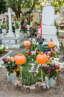 Oaxaca; Mexico; North America.  Day of the Dead Celebration.  Decorated Grave, San Miguel Cemetery.