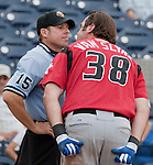 Albuquerque Isotopes Scott Van Slyke argues with home plate umpire Tripp Gibson after being ejected during their game against the Reno Aces played on Sunday afternoon, August 12, 2012 in Reno, Nevada.