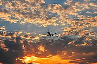 Jet plane landing at Portland International Airport in Portland Oregon