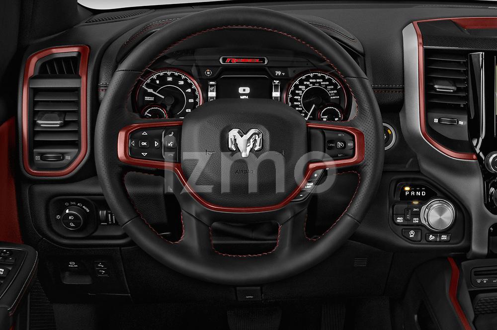 Car pictures of steering wheel view of a 2019 Ram 1500 Rebel 4 Door Pick Up
