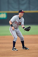 Danville Braves third baseman Jake Lanning (26) on defense against the Burlington Royals at Burlington Athletic Park on July 12, 2015 in Burlington, North Carolina.  The Royals defeated the Braves 9-3. (Brian Westerholt/Four Seam Images)