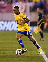 Robinho (7) of Brazil carries the ball upfield during an international friendly at the New Meadowlands Stadium in East Rutherford, NJ. Brazil defeated the USMNT, 2-0.