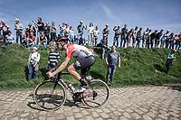 Jelle Wallays (BEL/Lotto Soudal) on the cobbles of sector 26.<br /> <br /> 116th Paris-Roubaix (1.UWT)<br /> 1 Day Race. Compiègne - Roubaix (257km)