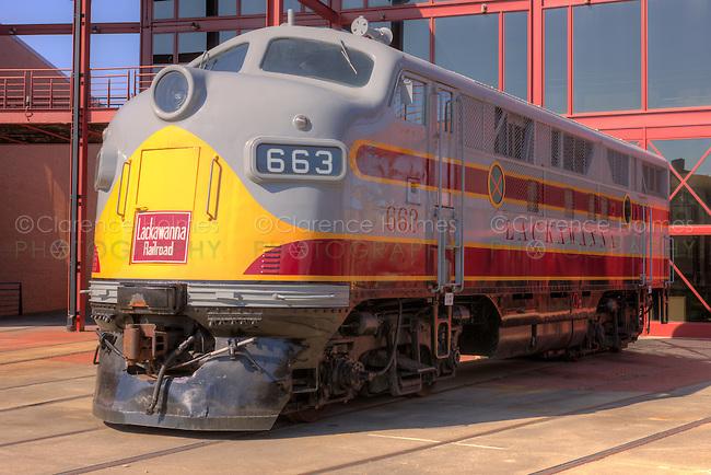 EMC F3 diesel locomotive in Lackawanna livery at the Steamtown National Historic Site in Scranton, Pennsylvania