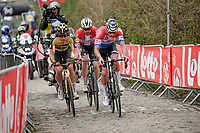 Kasper Asgreen (DEN/Deceuninck - Quick Step), Mathieu Van der Poel (NED/Alpecin-Fenix) & Wout van Aert (BEL/Jumbo-Visma) up the Oude Kwaremont<br /> <br /> 105th Ronde van Vlaanderen 2021 (MEN1.UWT)<br /> <br /> 1 day race from Antwerp to Oudenaarde (BEL/264km) <br /> <br /> ©kramon