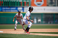 Rochester Red Wings Drew Maggi (5) leads off during an International League game against the Scranton/Wilkes-Barre RailRiders on June 25, 2019 at Frontier Field in Rochester, New York.  Rochester defeated Scranton 10-9.  (Mike Janes/Four Seam Images)