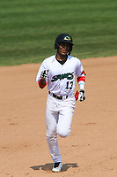 Beloit Snappers third baseman Ynmanol Marinez (13) rounds the bases following a home run during a game against the Quad Cities River Bandits on July 18, 2021 at Pohlman Field in Beloit, Wisconsin.  (Brad Krause/Four Seam Images)