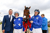 10th November 2020; Christchurch, New Zealand;  Hayden Cullen, Natalie Rasmussen and Mark Purdon with winner 11Self Assured  during the NZ Trotting Cup at Addington Raceway, Christchurch, New Zealand