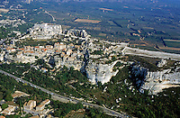 Road and buildings of the village on the cliffs of Les Baux-de-Provence, France.