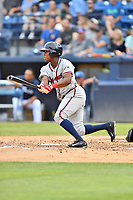 Rome Braves Jeremy Fernandez (32) swings at a pitch during a game against the Asheville Tourists at McCormick Field on July 18, 2019 in Asheville, North Carolina. The Tourists defeated the Braves 4-3. (Tony Farlow/Four Seam Images)