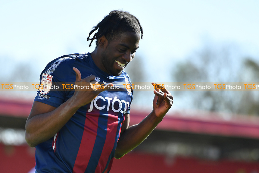 Clayton Donaldson of Bradford City AFC scores the second Goal and celebrates during Stevenage vs Bradford City, Sky Bet EFL League 2 Football at the Lamex Stadium on 5th April 2021
